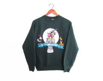 vintage sweatshirt / Mickey Mouse / raglan sweatshirt / 1990s green Mickey Mouse Classic Toons sweatshirt Small