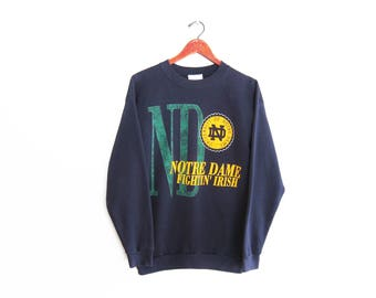 vintage sweatshirt / Notre Dame sweatshirt / 90s sportswear / 1990s navy Notre Dame spell out sweatshirt Medium