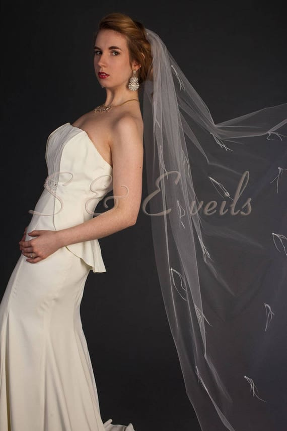 Ready to ship:  White color Cathedral veil features feathers and pearls
