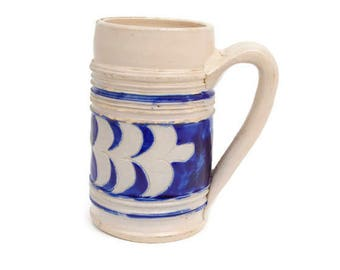 Vintage Williamsburg Pottery Salt Glazed Cobalt Blue Design Handmade Stoneware Mug Beer Stein Barware