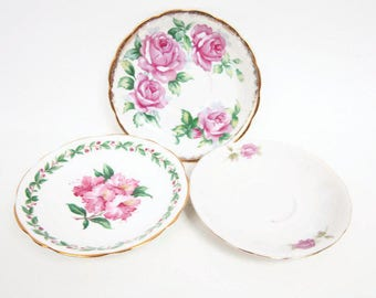 Vintage Pink Flower Saucers Lot of 3 Porcelain Dishes Hand Painted Made in England Made in Japan Tea Party Saucer