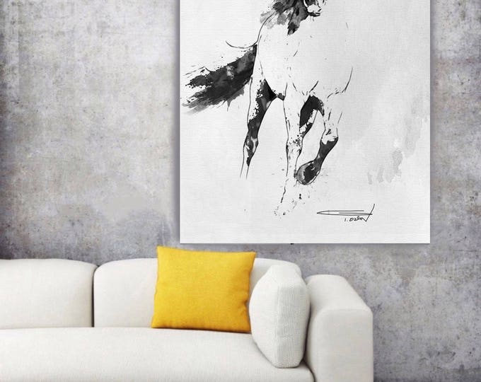 "Wild Running Horse 2. Extra Large Horse Wall Decor, Black Contemporary Horse, Large Contemporary Canvas Art Print up to 72"" by Irena Orlov"