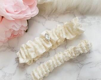 Grace ,Ivory Silky satin garter set, ivory lace rhinestone garter belt , wedding garterbelt , bridal lingerie accessories,  luxury romantic