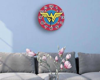 Wonder woman print aluminum composite wall clock ideal gift for fans