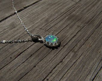 Genuine Opal Necklace Ethiopian Opal Necklace Silver Welo Opal Necklace Moonstone Sterling Necklace White Fire Opal Pendant- Glowing
