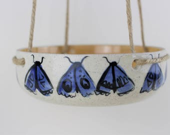 Blue moth porcelain hanging indoor planter, handmade ceramic