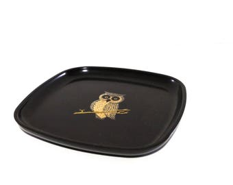 Vintage Owl Tray Melamine Inlay Made by Couroc 1970s