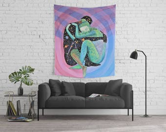 Tapestry Love Space Watercolor Painting // Original Artwork // Soul Mates //  Wedding Art // Valentine's Day Gift // Wall Hanging // Decor