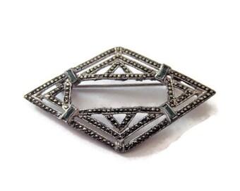 Vintage Sterling Marcasite Emerald Brooch