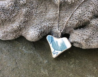 Sea glass jewelry, Sea pottery jewelry, Bezel set heart shaped blue and white sea pottery necklace