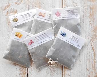 Tea Samples, Organic,  Loose Leaf or Tea Bag Samples, Individual Samples, You Choose, Trial Size Tea, Mini Tea Samples, Try Me