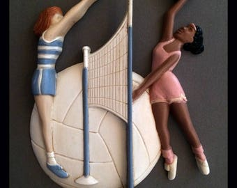 Used Burwood Products Co 1994 Volleyball Wall Decor | Vintage Wall Decor | 90s Sports Decor | Plastic Wall Decor | Burwood Plastic Wall Hang