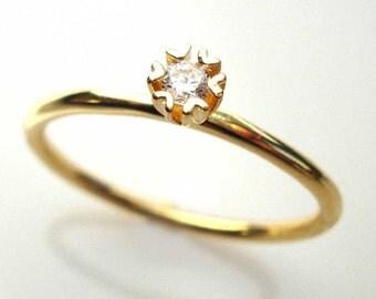 Diamond Engagement Ring, Delicate Diamond Ring, Diamond Solitaire Ring, Bridal Ring, Diamond Ring, Diamond Heart Ring, Free Shipping