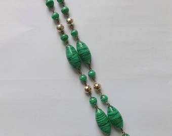 Green and Colourless Swirled Glass Bead Necklace