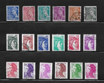 French Vintage Stamps (1B) - 1940s onward - Ladies Only - 5 sets of stamps from France - including the Bust of Marianne