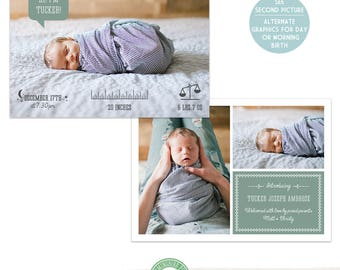 5x7 Birth Announcement Template, Photo Birth Announcement, Icons, Modern, Clean, Multiple Photos, Photo Card  - B49