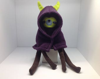 Sloth Plush with Purple Horned Cape