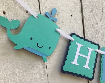 Whale Birthday Banner/Nautical Birthday Banner/ Whale Party Banner/ Navy/ Aqua/ Whale Party Package/ Whale Party