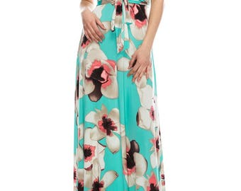 STELLA Wrap Style Dress in Blue with White Orchid
