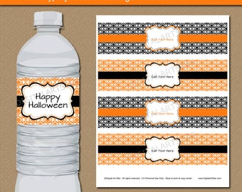 Halloween Water Bottle Labels, Halloween Party Supplies, Halloween Party Favors Adult Birthday Decorations Editable PDF Orange Black Damask