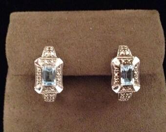 Pair Vintage Faux Diamond & Light Blue Topaz Post Back Earrings Silver