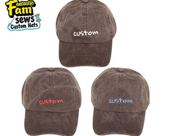 Custom 1 Tone Dad Hat - Cotton Dyed Washed - Black/Charcoal