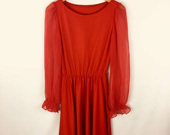 70s Red Dress with Sheer Sleeves