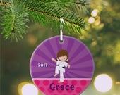 Personalized Kids Ornament - Karate Kid Girl Purple Rays Pink Polka Dot, Children Christmas Ceramic Circle Heart Snowflake Star