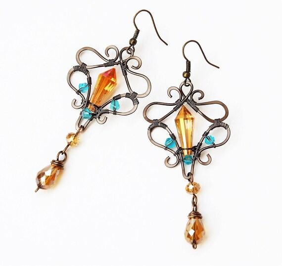 Long vintage earrings