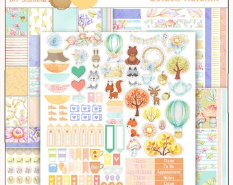 Golden Autumn Printable Planner Stickers Kit  4 PDFs, EC or Happy Planner, Washi,  Icons, ADORABLE Clip Art