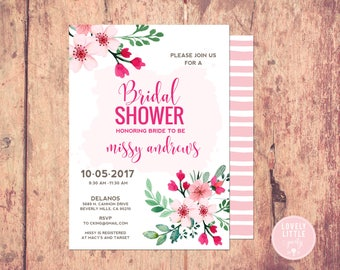 bridal shower invitation, floral bridal shower Invitation, bridal shower - Lovely Little Party