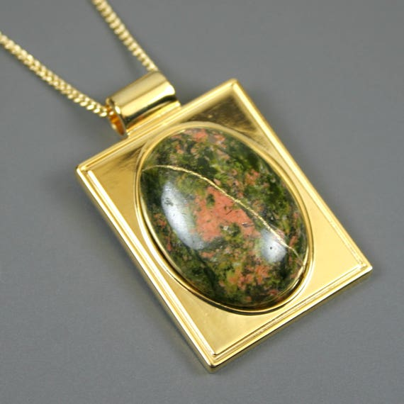 Kintsugi (kintsukuroi) unakite stone cabochon with gold repair in a rectangular gold plated setting on gold chain - OOAK