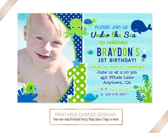 Navy and Green Under the Sea Birthday Invitation, Ocean Birthday, Under the Sea Party, Summer Birthday, DIY Printable