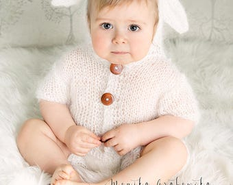 6-12 Mohair Knit Bunny Outfit, Hooded Baby Outfit, Sitter Outfit, Knits Bunny, Knit photo props, Photography props, Sitter size