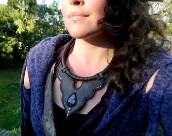 Labradorite Statement Necklace Tribal Adornment Gemstone Jewelry Recycled Leather Jewelry by Ariom Designs