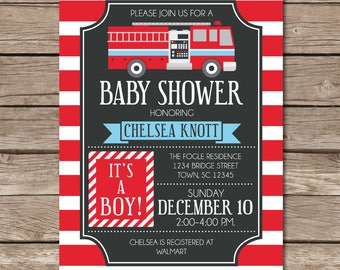 Baby Shower Boy Firetruck Fire Truck Invitation Party Expecting Fire Enginge Digital Print Printable
