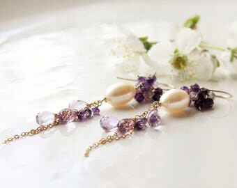 Amethyst Earrings, Pearl Earrings, Gold fill wire wrap, purple gemstone cluster earrings, February birthstone, holiday gift for her, 4161