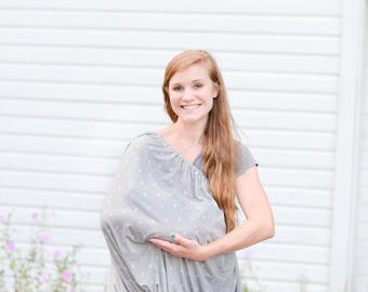 Nursing Cover, Grey Breastfeeding Cover, Arrow Nursing Poncho, Lightweight Nursing Scarf, Full Coverage Nursing, Gender Neutral Cover