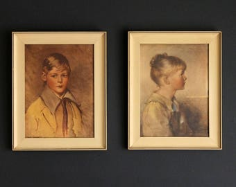 Vintage Children's Portrait Pictures By Vilas-Mages Co. of Chicago Framed Under Glass Print Faux Painting