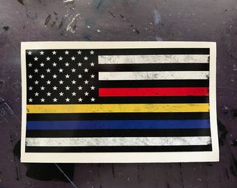 Thin Blue Line, Thin Red Line, Thin Gold Line Sticker - FREE SHIPPING - Decal, American Flag, Distressed, Car, Laptop, Macbook