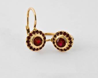 Dangle Ruby Earrings, Red Gemstone Earrings, Ruby Drop Earrings for Women, Ruby Gemstone Jewelry 18k, Berman Designers
