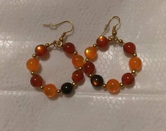 Orange/Brown/Gold 6mm bead Gold Hoops