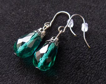 Teal Teardrop Dangle Earrings