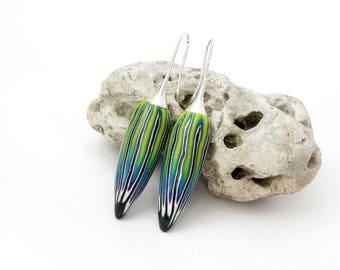 Art  Ohrringe Polymer clay  Fimo Ohrpendel , lange Ohrringe millefleur tragbare Kunst