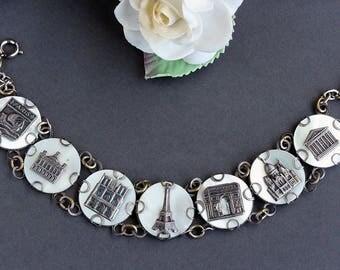 French Souvenir Bracelet, Mother of Pearl Filigree Paris French Souvenir bracelet, Silver Plated Brass Art Nouveau bracelet