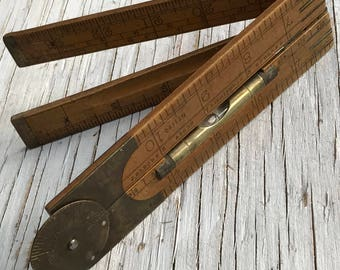 Vintage 2ft Rabone wooden Boxwood ruler with spirit level. Beautiful folding collectable vintage ruler. Made in England.