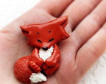 Fox brooch, Lovely Little pin Fox Cub, Animal jewelry, Cute gift, Art Miniature