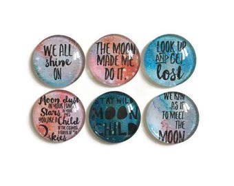 Cosmic Magnets + Tin / Fridge Magnets / Glass Magnets / Refrigerator Magnets / Watercolor Magnets / Quote Magnets / Moon Child Magnets