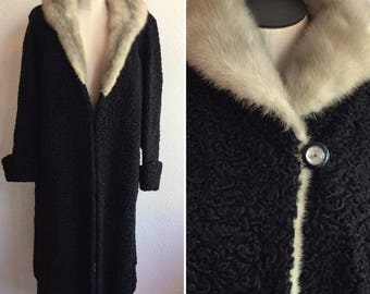 Anastatia fur coat | Vintage persian lamb and mink coat | 1940's fur swing coat with fur shawl collar