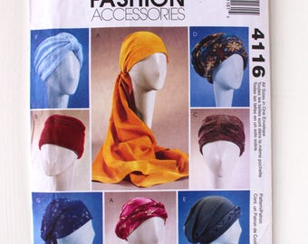 McCall's Pattern 4116, Turbans, Headbands & Hats, Unused Vintage Pattern, Sewing Pattern, Fleece Sewing Pattern, Uncut Pattern